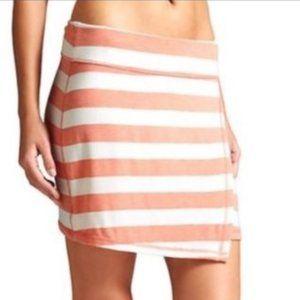 ATHLETA Ribbon Stripe Faux Wrap Skirt Orange White